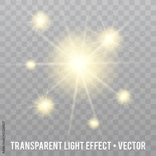 Vector light Glitter particles Effect on transparent