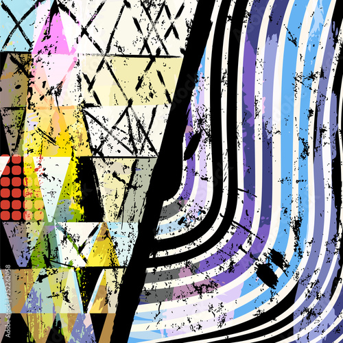 abstract geometric background illustration, with lines, waves, strokes and splashes