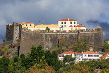 Beautiful View Of Fort Fortaleza De Sao Joao Baptista Do Pico In Funchal, Madeira, On A Cloudy Summer Day