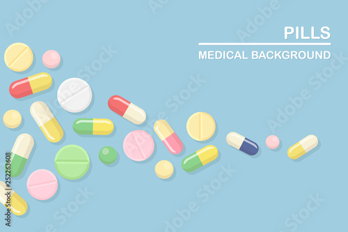 Set of pills, medicine, drugs Fototapeta