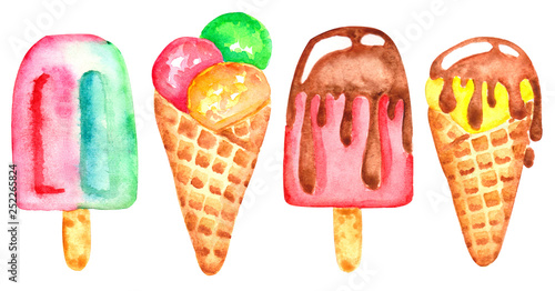 Fotografie, Obraz  watercolor hand drawn ice cream isolated on white background.
