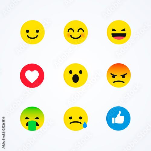 Fotografie, Tablou  Vector Set of Flat Design Style Social Media Reactions Emoticon