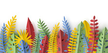 Trendy Summer Border With Tropical Leaves