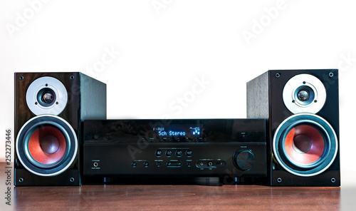 Photo Hi-Fi stereo system musical player, power receiver,  speakers, multimedia center