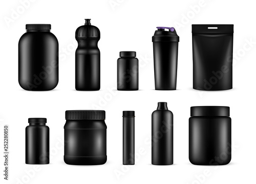 Fotografia  Sport nutrition containers for food and drink