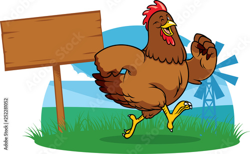 Canvas Print chicken running the farm with cartoon style