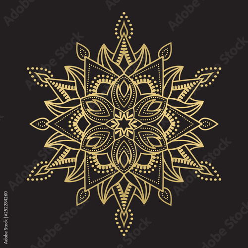 Tuinposter Boho Stijl Gold color round abstract ethnic ornament mandala
