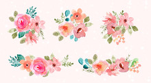 Pink Green Watercolor Flower Arrangement Collection
