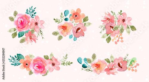 pink green watercolor flower arrangement collection