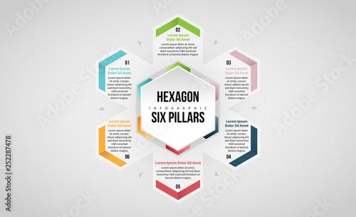Fényképezés Hexagon Six Pillars Infographic
