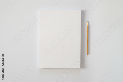 Cuadros en Lienzo A stack of blank sheets of paper and a pencil on a white background