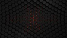 Grey And Orange Hexagons Modern Background 3d Render Illustration