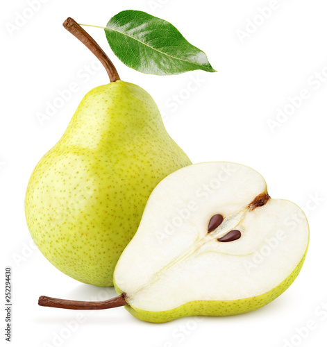 Fényképezés Green yellow pear fruit with pear half and green leaf isolated on white background with clipping path