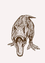 Graphical Vintage Dinosaur,vector Retro Illustration
