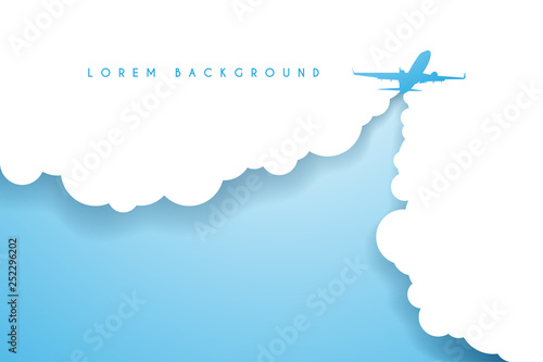Fototapeta airplane on paper sky clouds