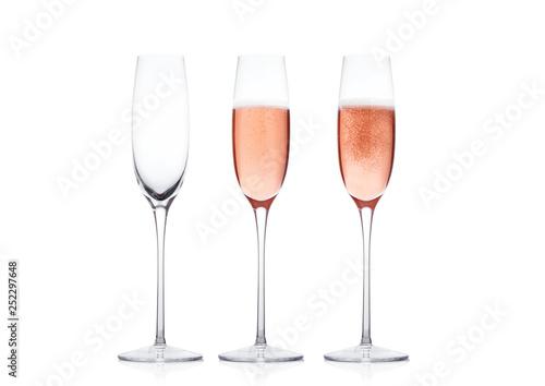 Fotografija Elegant Rose pink champagne glasses with bubbles