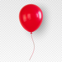 Red Helium Balloon. Birthday B...