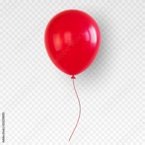 Fototapeta Red helium balloon. Birthday baloon flying for party.