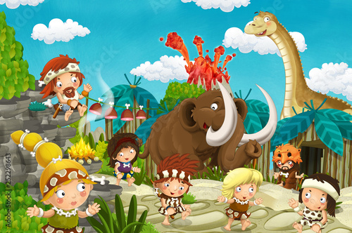 Poster de jardin Zoo cartoon cavemen village scene with volcano and dinosaur diplodocus and mammoth in the background - illustration for children