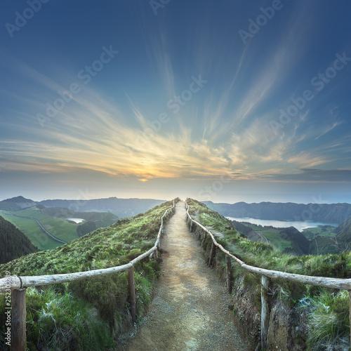 Fotobehang Bergen Mountain landscape Ponta Delgada island, Azores Portugal