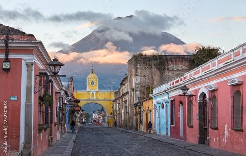 Colonial Architecture and Street Scene during Early Morning Sunrise in Antigua G Wallpaper Mural