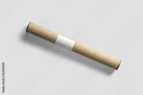 Photographie Paper tube mock-up, blank object for placing your design