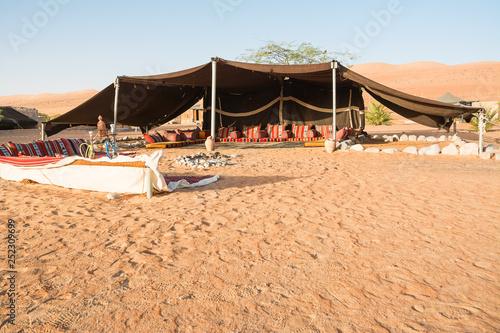 Bedouin tent in the Wahiba Sand Desert in the morning (Oman) Wallpaper Mural