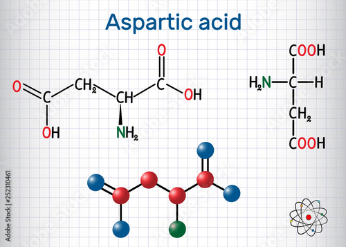 Photo Aspartic acid (L- aspartic acid, Asp, D, aspartate) proteinogenic amino acid molecule