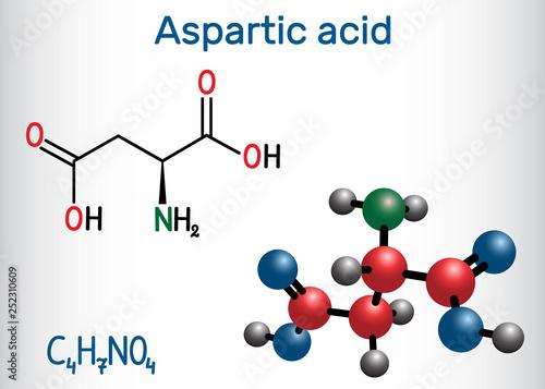 Aspartic acid (L- aspartic acid, Asp, D, aspartate) proteinogenic amino acid molecule Canvas Print