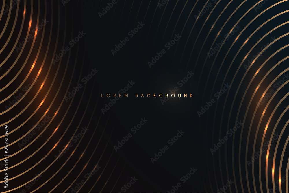Fototapeta gold lines on black background