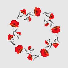 Red Poppy Flower . Floral Frame. Poppy Wreath. Remembrance Day. Veterans