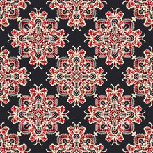 Vector Illustration Seamless Tile Flowers On Black , Red And White Colors.