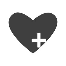 Black Heart Icon With Plus Iso...