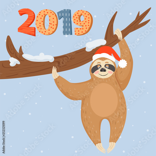 Poster Retro sign Christmas and Happy New Year card with sloth bear. Lazy sloth hanging on the branch. Vector illustration.