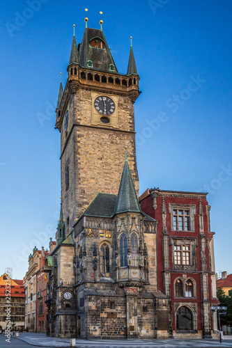 In de dag Brugge The tower of the City Hall in the Old Town Square in Prague, Czech Republic, Europe.