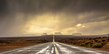 Picturesque View Of Dramatic Overcast Sky Over Asphalt Countryside Road In Grand Canyon