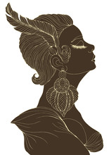 Vector Portrait In Profile Of Elegant Lady In Retro Style. Flapper Girl With A Feather In A Short Hairstyle And A Big Earring. Art Deco Style Jazz Party. Decorated Dark Silhouette With Light Line A4