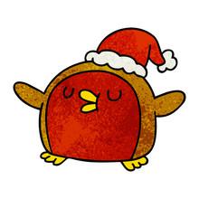Textured Cartoon Cute Kawaii Red Robin