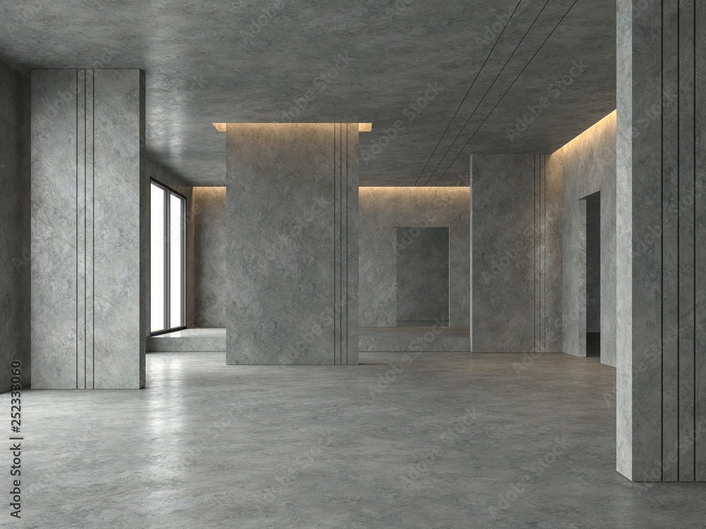 Fototapety, obrazy: Loft space empty room 3d render,There are polished concrete floor and wall decorate with hidden warm light in ceiling