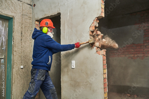 demolition work and rearrangement Wallpaper Mural