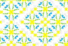 Seamless Abstract Floral Pattern With Blue And Yellow Flowers
