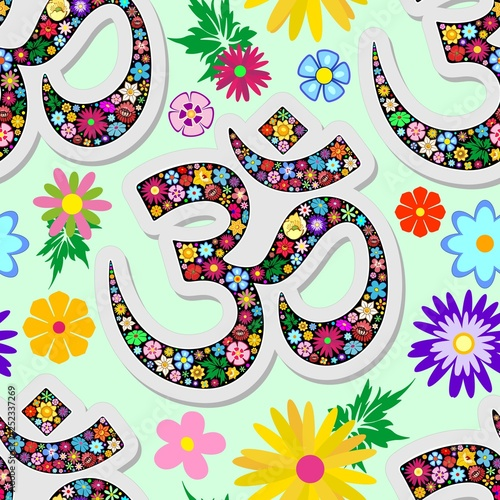 Spoed Foto op Canvas Draw Namaste Floral Yoga Sign Seamless Pattern Vector Textile Design