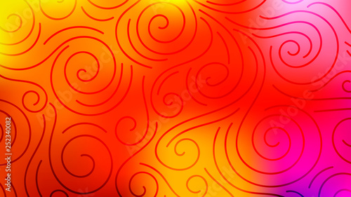 Montage in der Fensternische Abstrakte Welle Colorful blurred background with thin line curls, swirls. Curly modern abstract gradient card. Business poster. Vector illustration.