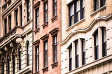 Architectural Details On Vintage Brick Apartment Building In New York City