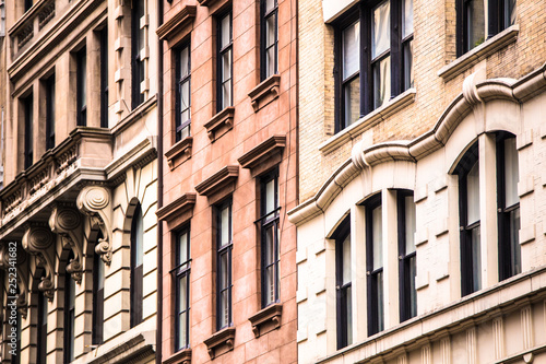Architectural details on vintage brick apartment building in New York City Canvas Print