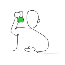 Continuous Line Drawing Of A Person Take A Look And See Chemical Solution In Erlenmeyer Flask Vector Illustration