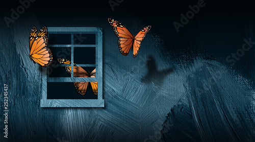 Butterflies escaping open window graphic abstract background - 252345437
