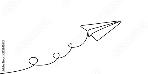 Foto Paper plane continuous one line drawing vector illustration minimalist design isolated on white background