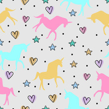 Cute Unicorn Seamless Pattern Vector Illustration With Childish Drawing For Cute Baby Fashion Textile Print