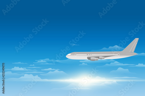 Tuinposter Vliegtuig sky view of a plane . Passenger airplanes on the sky view background. vector illustration